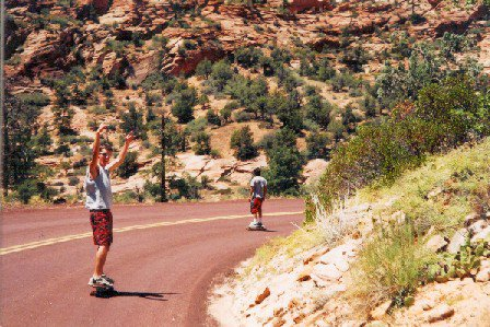 Jake (closest) and I ripping up zions on the longboards