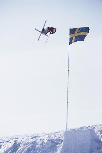 Jon olsson close up to the flag