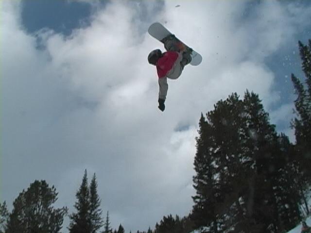 15 y/o goin big on snowboard