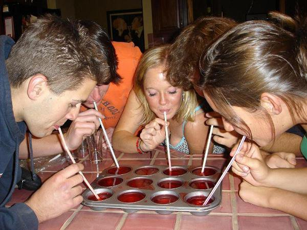 Jello shots being taken by true champions...through straws.
