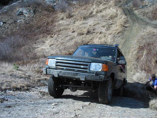driving up a 50 degree rock slab