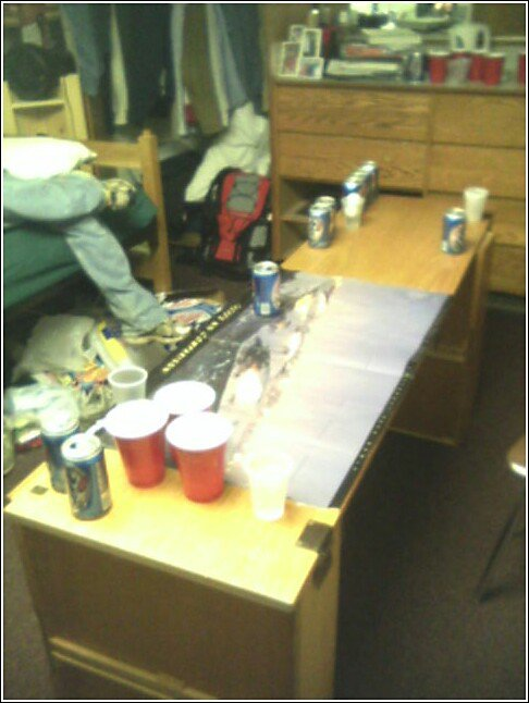 pong table with vail poster
