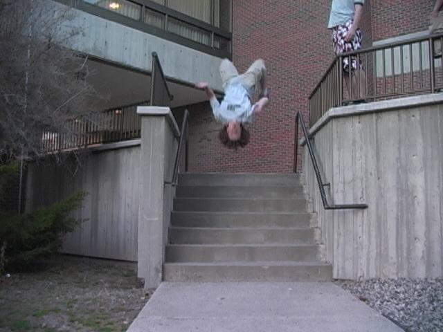 backflip off staircase
