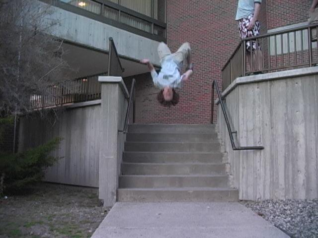 backflip off staircase