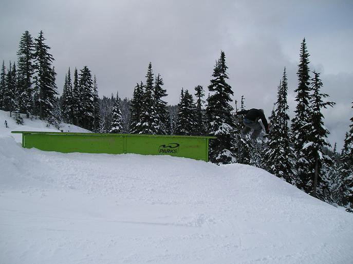 270 off a one of the rail in the lower park on Whistler