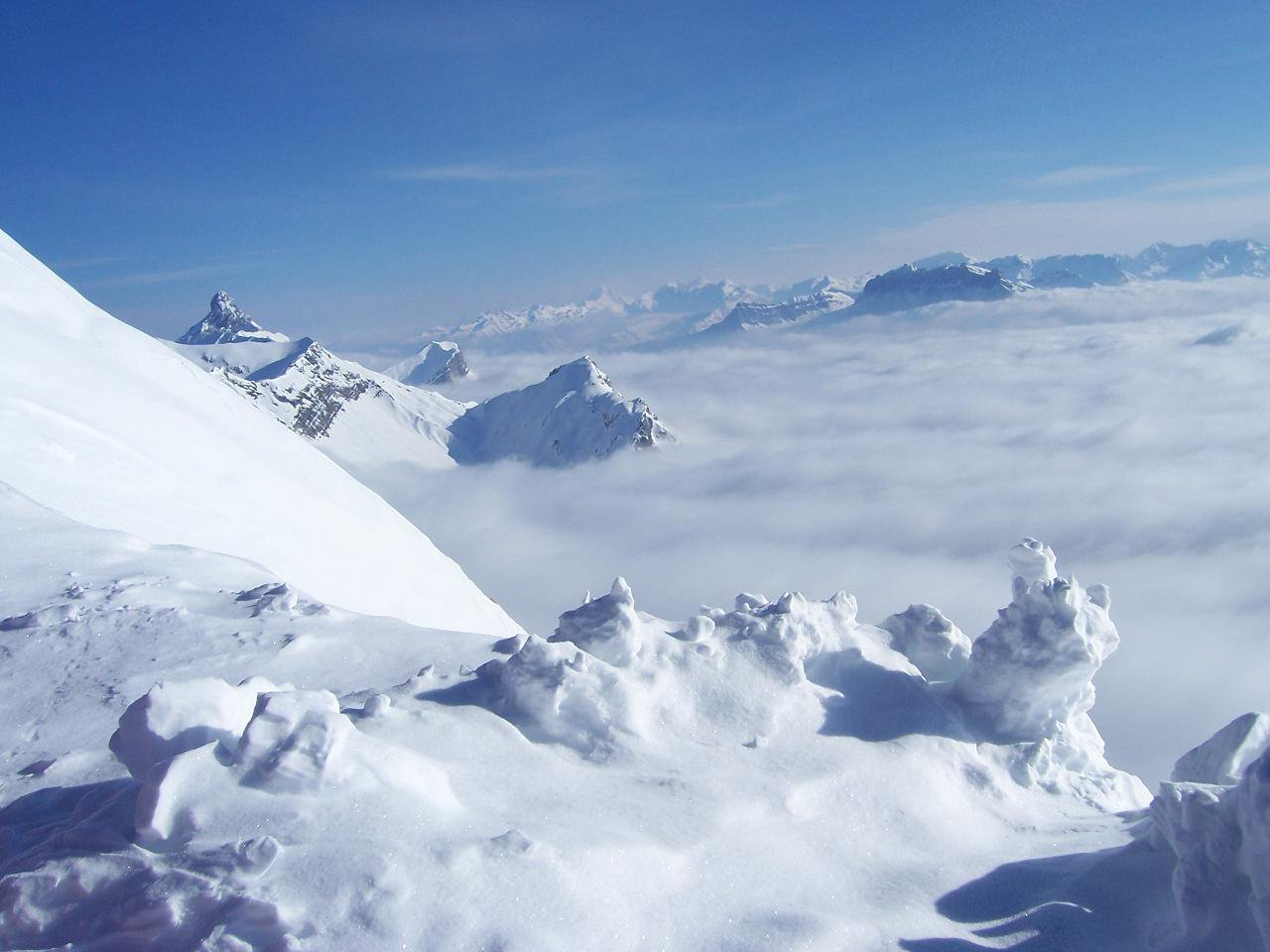 amazing view above the clouds