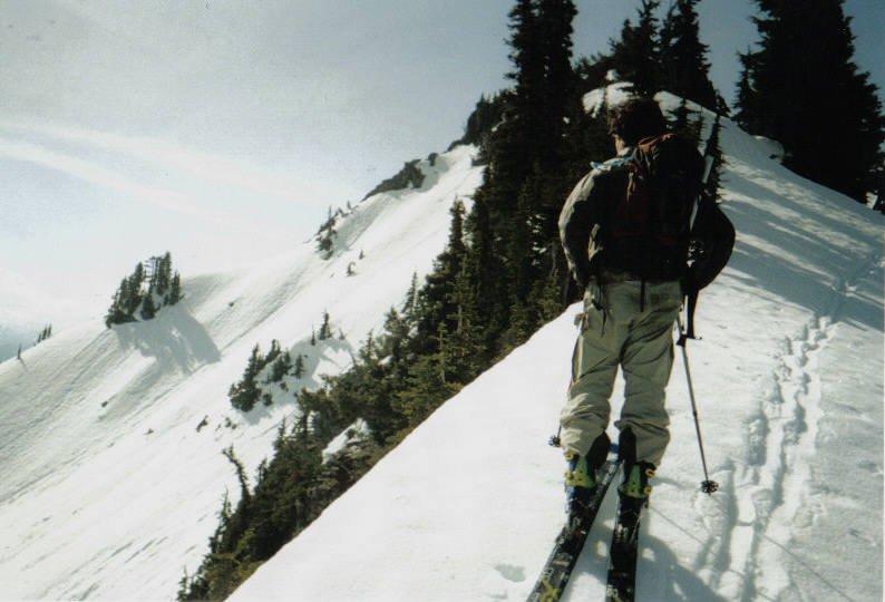 Sam skinning on the ridge along Naches Peak