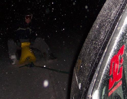 Brett chillin during a snowstorm
