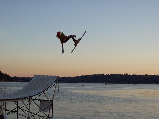 water ramp jump at dusk