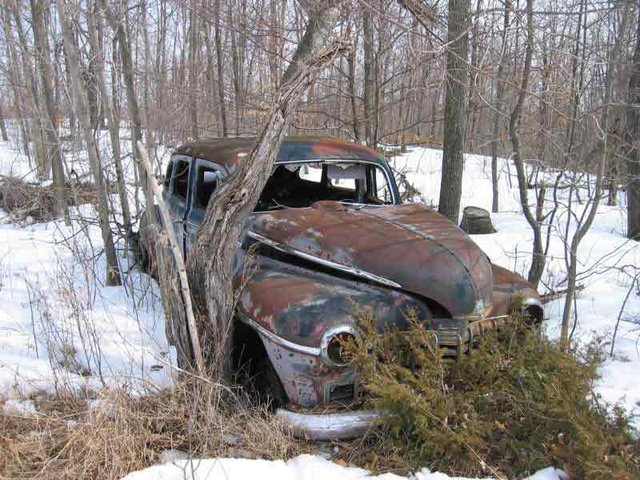 an old car i found in the woods. reminds me of what i used to have!  Maybe i should fix her up ;)