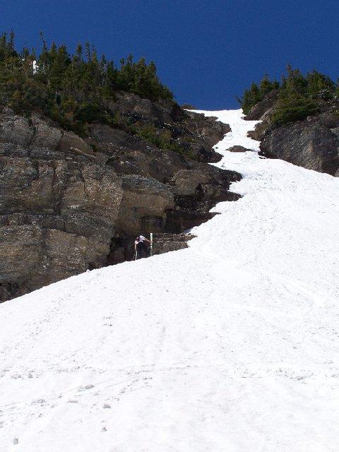 Hiking up the chute