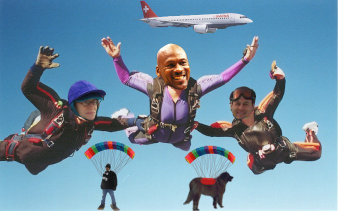 Linda's dream is to skydive with Michael Jordan and Me! My Nephew made this for her!