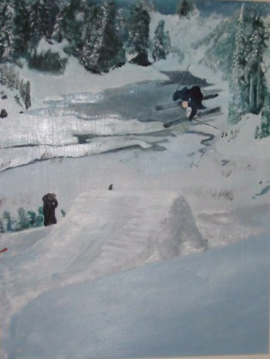 painting of someone's skiing picture