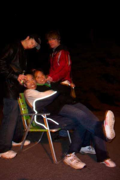 Stolen lawnchair, middle of the road. Good times.