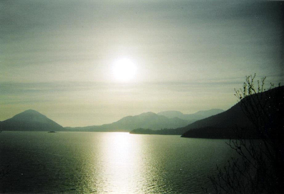 Sea to sky, sun slowly fading away.