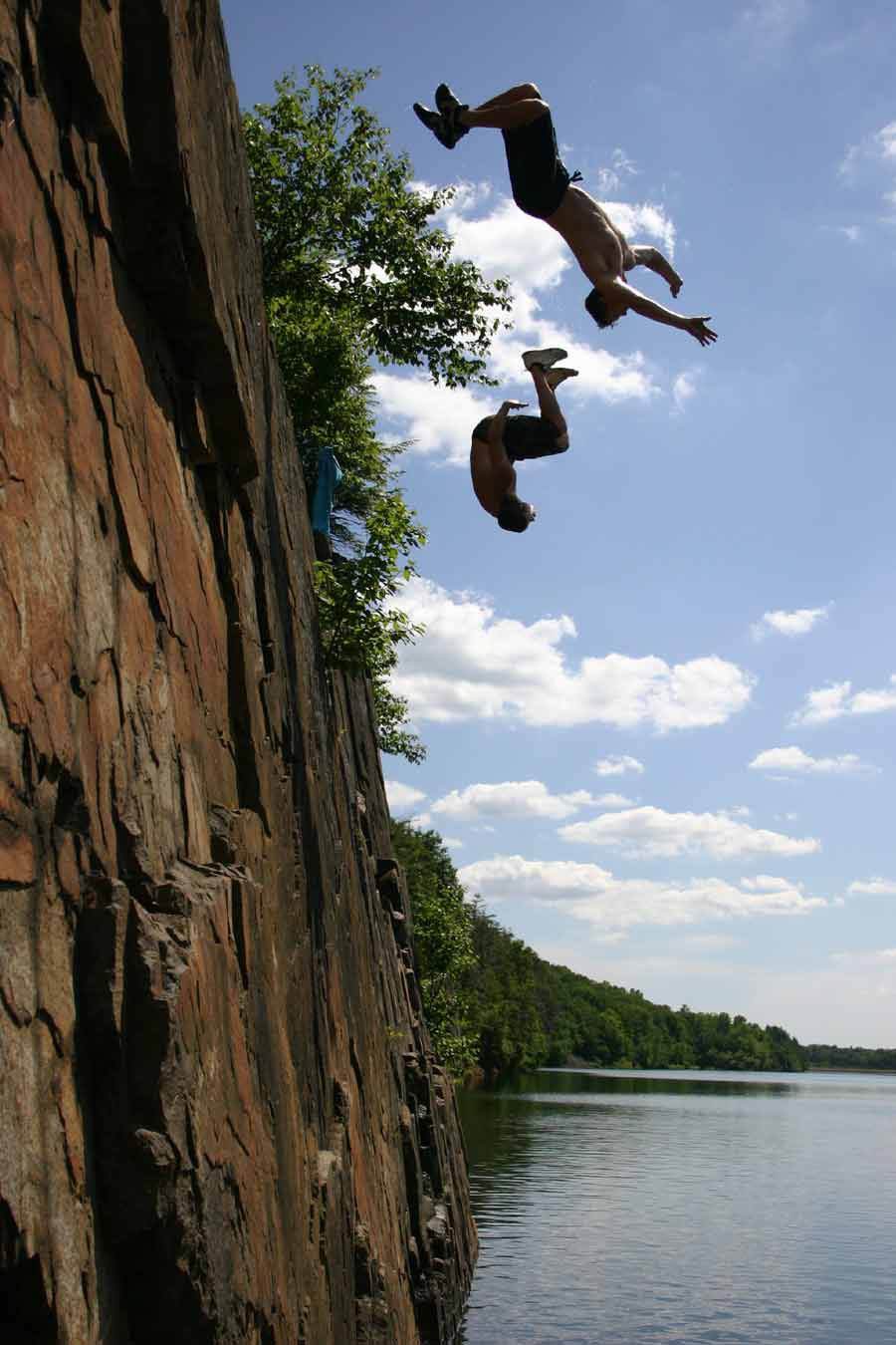 cliff jumping - synchronized backflips