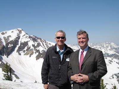 Snowbird president and Salt Lake County Mayor Meet to celebrate the longest ski season in utah histo