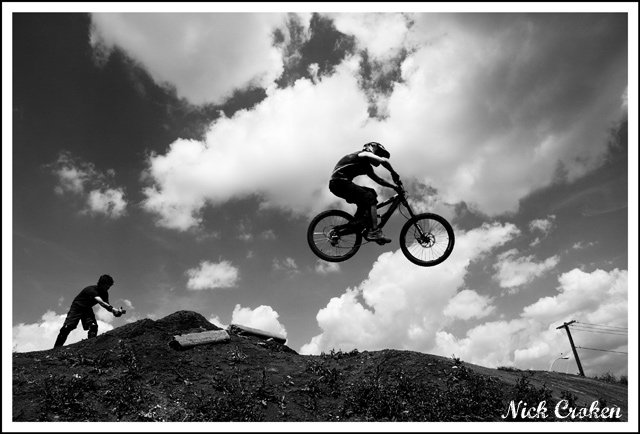 Very Intense black and white bike shot