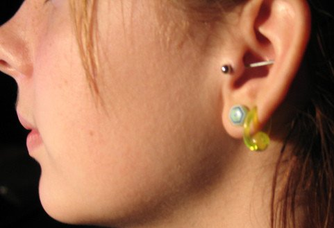 My new earing.. Tragus through the conch..