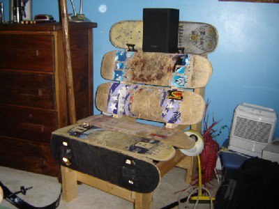 skateboard bench !!! all my non broken boards i made a bench of them