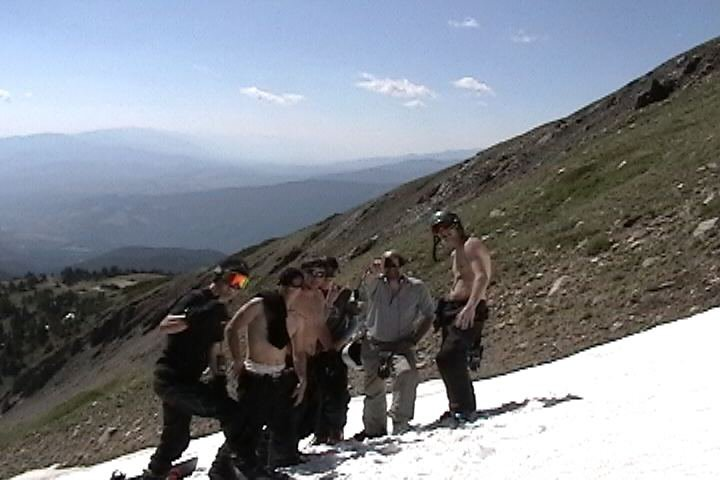 getting turns on July 4th!    me and friends hiking a 1/2 mile drift at 12500 ft.