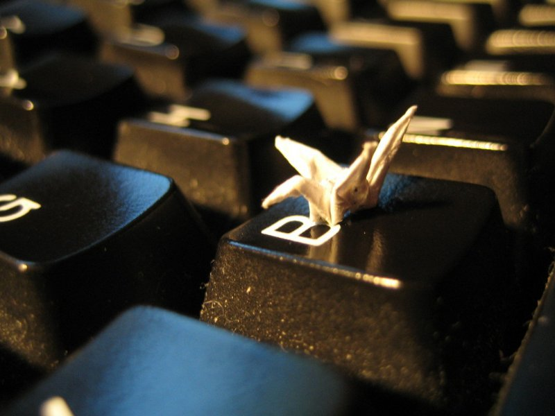 a really teency paper crane