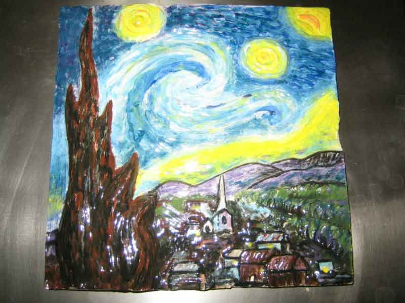 starry night in clay
