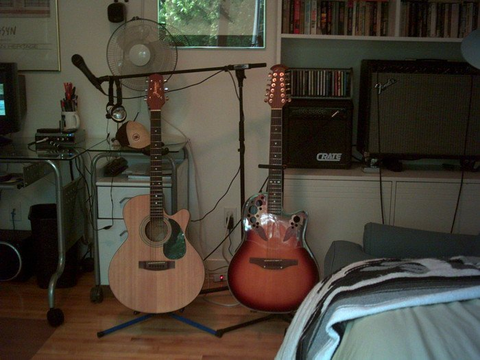 my pimp ass guitar set up that barely fits in my tiny room