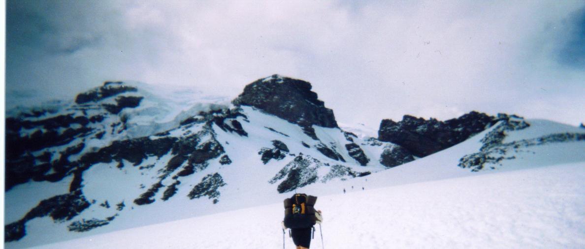 slugging up the Muir snowfield