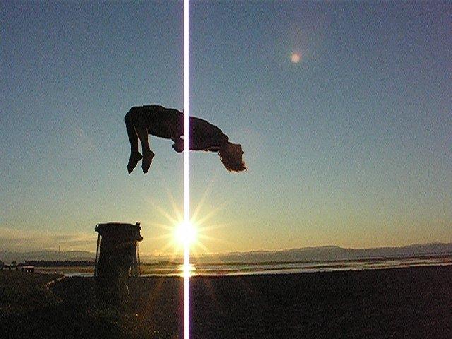 Backflip at beach with sunrise