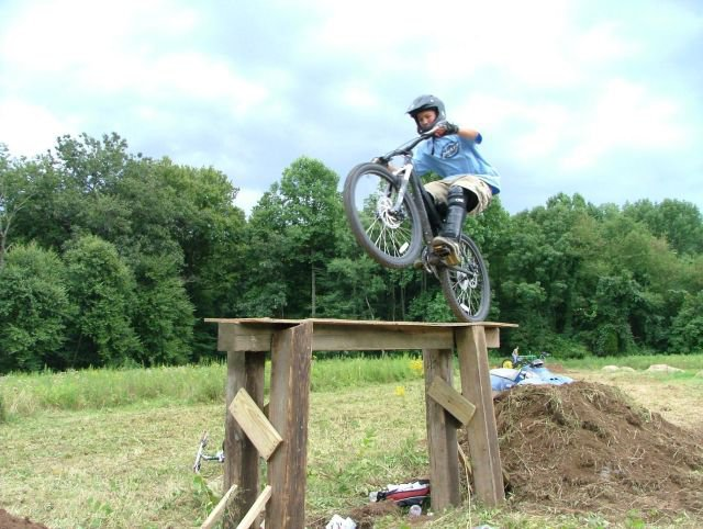 Ant hiting up the table at our dirt jump park.