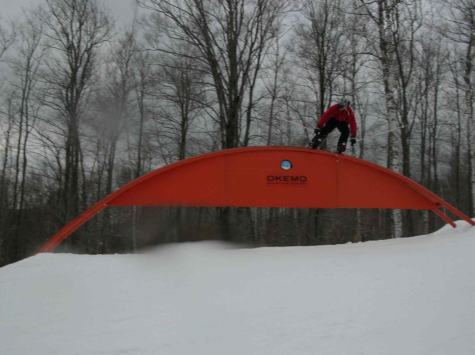 My friend stricks the Rainbow Rail at Okemo