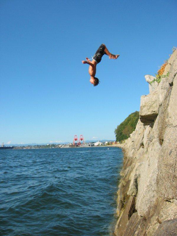 Backflip off Beach Rocks