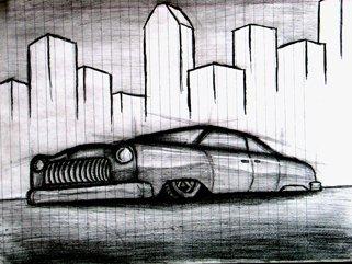 Hot rod sketch in the city (work in progress)