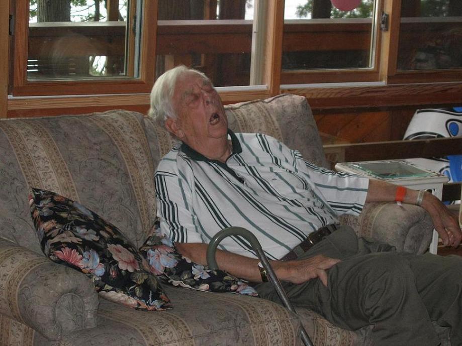 haha grandpa asleep...