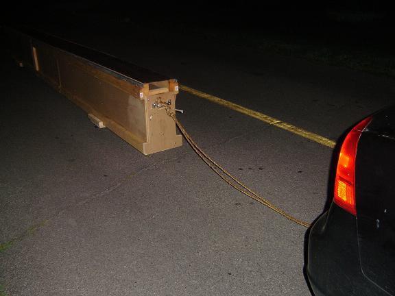 Box set up behind car