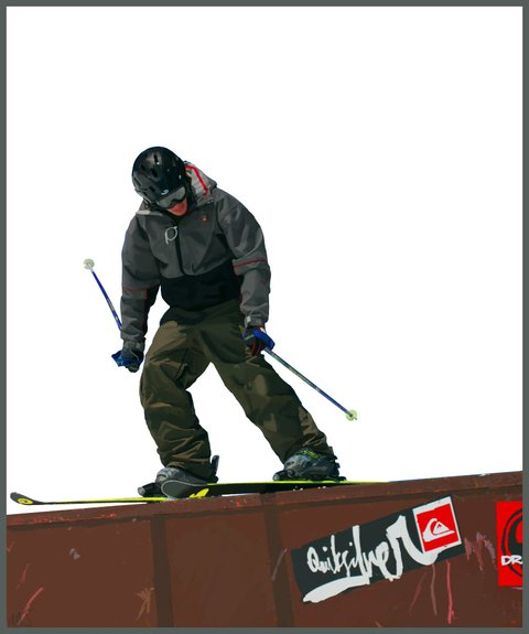 Tablet Skier Drawing.