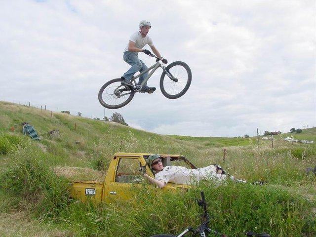 Brian hitting a car jump.