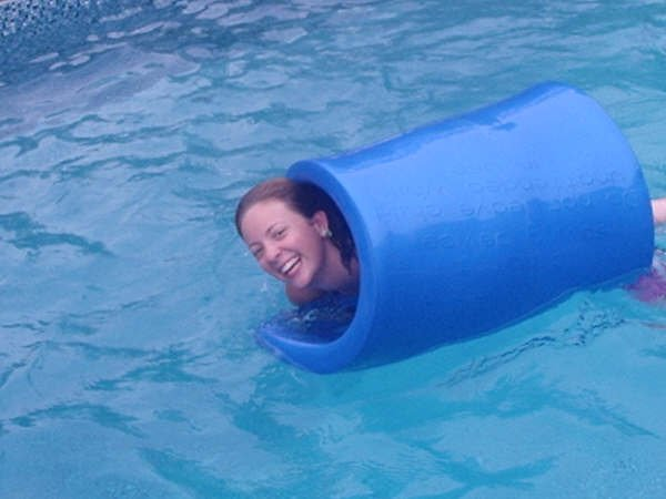 "Wrapped in a big blue floaty ""taco"""