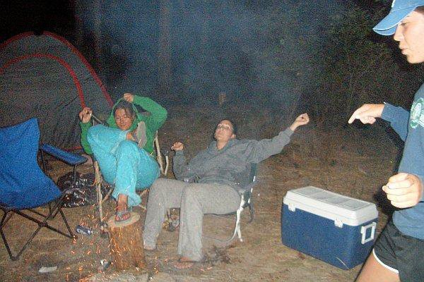 me, fran and monica,...rockin out while camping