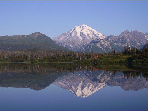 reflection of Alaskan volcano on bear lake