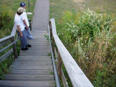 burly wooden death rail.