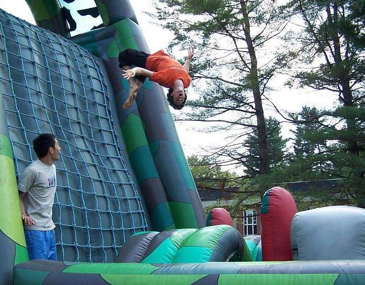 Backfliping the Inflatable Rockclimbimg wall.