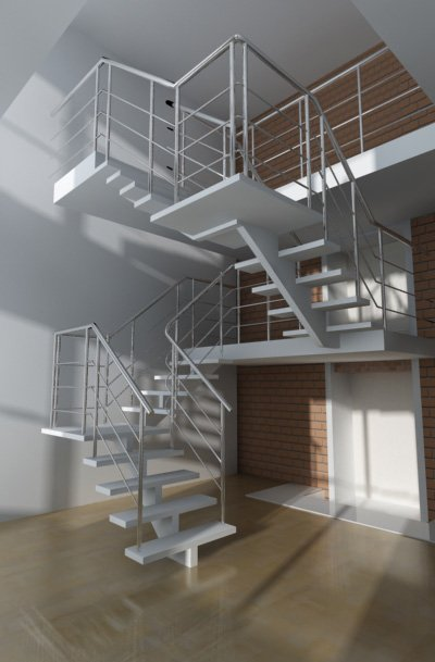 3d interior vizualisation. stairs
