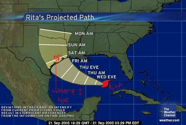 HURRICANE RITA IS COMING! fuck!
