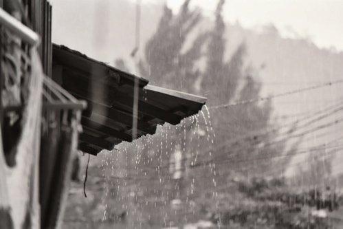 Rain coming off overhang