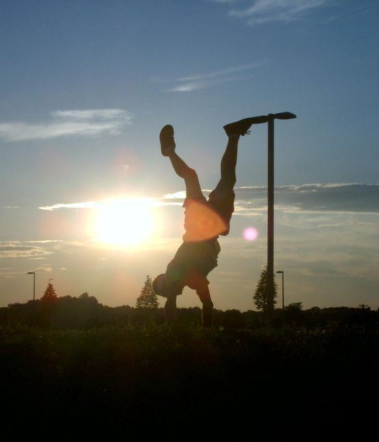 handstand in the sunset