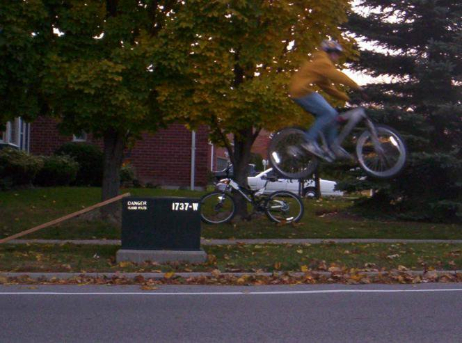 Bike Jump over Green Box (Side View)