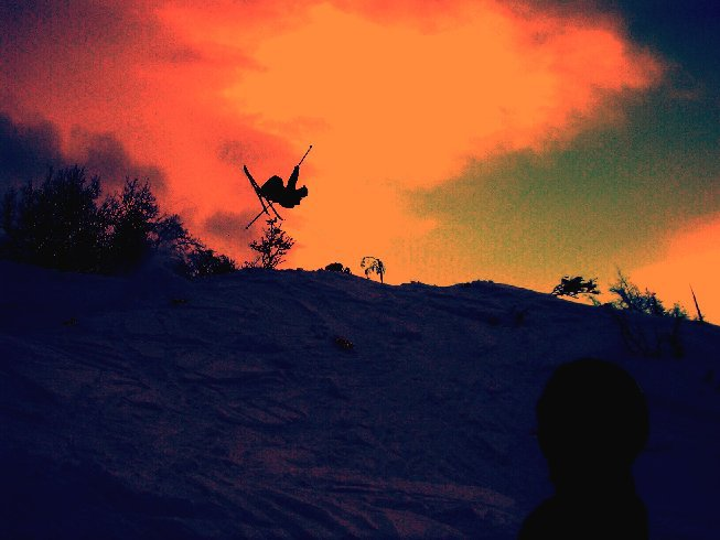 edited image of me taking a Rodeo 720 on telemark
