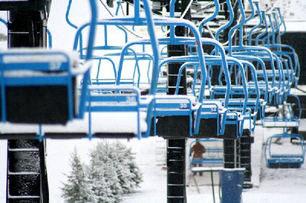 Chair Lift During Snow